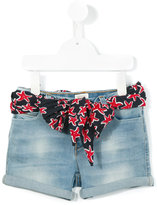 Armani Junior belted denim shorts - kids - Cotton/Spandex/Elastane - 4 yrs