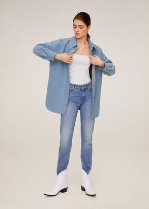 MANGO Wool-blend overshirt blue - L - Women