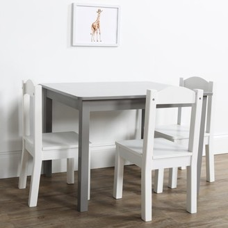 Humble Crew Inspire 5-Piece Wood Kids Table & Chairs Set in Grey & White