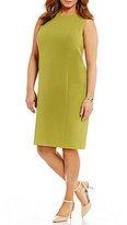 Kasper Plus Round Neck Sleeveless Solid Stretch Crepe Sheath Dress