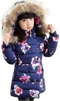 WEONEDREAM Girls Princess Medium-long Winter Jackets Cotton Coats Hoodie (Blue,)