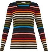 Sonia Rykiel Striped scoop-neck ribbed-knit sweater