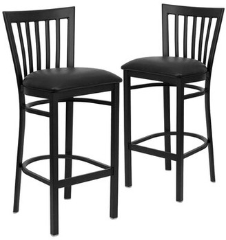 "Andover MillsTM Lyman Series Bar Stool Andover Mills Seat Height: Bar Stool (29"" Seat Height), Upholstery: Black Vinyl, Pack Size: 1"