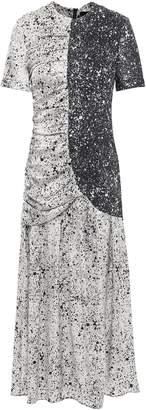 Paper London St Martin Ruched Printed Silk-blend Twill Midi Dress