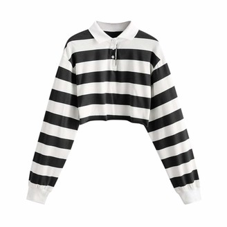 Kalrorywee Women Tops KaloryWee Womens Striped Crop Tops Casual Long Sleeve Winter Autumn Fashion Blouse Pullover T Shirts for Ladies Women Girls Black