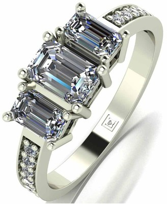 Moissanite Lady Lynsey 9ct Gold 1.20ct Shoulder Set Emerald Cut Trilogy Ring