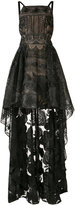 Marchesa high-low rose lace dress - women - Nylon - 0