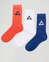 Le Coq Sportif 3 Pack Tricolore Crew Socks