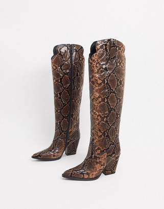 Jeffrey Campbell Amigos knee high boot in snake print leather