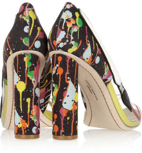 Webster Sophia Party Like Pollock satin and PVC pumps