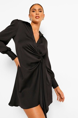 boohoo Statement Draped Satin Shirt Dress