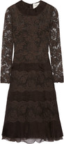 Valentino Lace and silk-georgette paneled midi dress