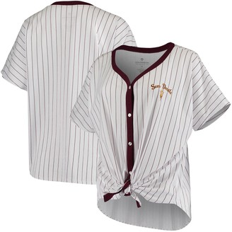 Colosseum Women's White Arizona State Sun Devils Playground Striped Oversized Button-Up T-Shirt