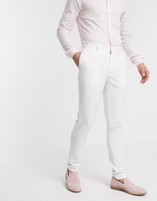 ASOS DESIGN wedding super skinny suit trousers in white