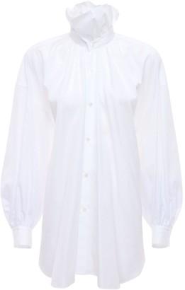 Noir Kei Ninomiya Cotton Poplin Long Shirt W/collar Detail