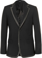 Alexander McQueen Black Print-trimmed Wool And Mohair-blend Blazer