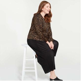 Joe Fresh Women+ Print Elastic Cuff Blouse, Natural (Size 3X)