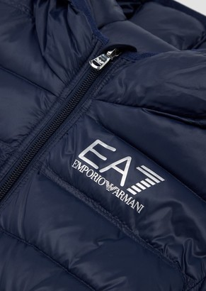 Ea7 Quilted Padded Jacket In Technical Fabric With Hood