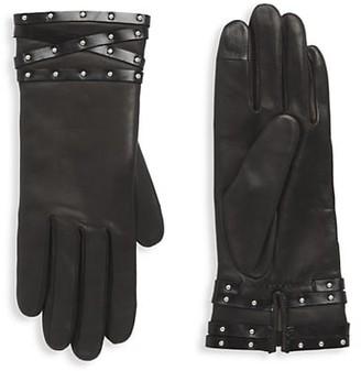 Agnelle Studded Band Leather Gloves