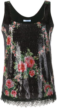 Blumarine Floral Sequin Embellished Top
