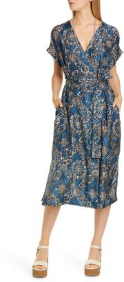 Brunello Cucinelli Floral Print Silk Wrap Midi Dress