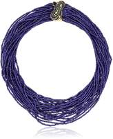 """Betsey Johnson Betsey Blues"""" Pave Snake Seed Bead Multi Row Necklace"""