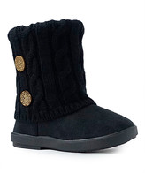 Shoe Box Trading Girls' Casual boots black - Black Button-Accent Quilted Bootie - Girls