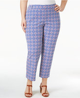 Charter Club Plus Size Newport Tummy-Control Printed Cropped Pants, Only at Macy's