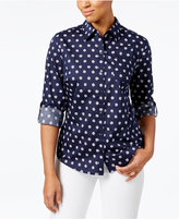Karen Scott Petite Cotton Daisy-Print Shirt, Only at Macy's