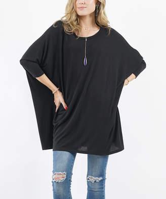 Lydiane Women's Ponchos BLACK - Black Oversize Dolman-Sleeve Tunic - Women