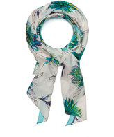 Fraas Plus Size Printed cotton silk blend scarf
