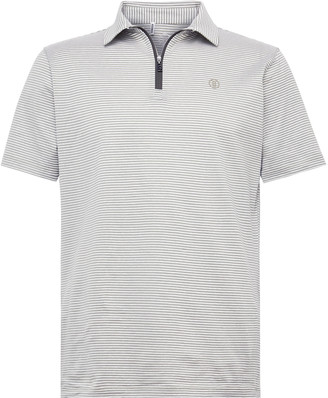 Bogner Aires Striped Cotton And Linen-Blend Half-Zip Golf Polo Shirt