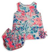 Lilly Pulitzer Baby's Vintage Dobby Underwater Shift Dress & Bloomers Set