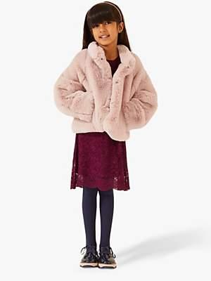 Jigsaw Girls' Faux Fur Swing Coat, Blush