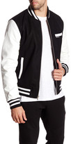 Members Only Faux Leather Sleeve Varsity Jacket
