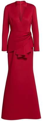 Badgley Mischka Scuba Side-Wrap Gown