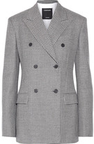 Calvin Klein Double-breasted Houndstooth Wool Blazer - Black