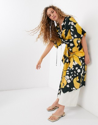 Topshop midi dress with drawstring waist in floral print