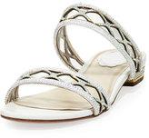 Rene Caovilla Crystal-Embellished Two-Band Flat Sandal Slide, White