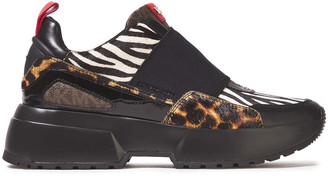 MICHAEL Michael Kors Paneled Printed Calf Hair And Leather Sneakers