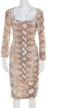 Just Cavalli Brown and Beige Python Scale Printed Jersey Dress XL