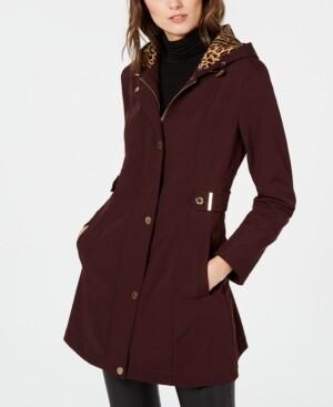 Via Spiga Hooded Water-Resistant Raincoat, Created for Macy's