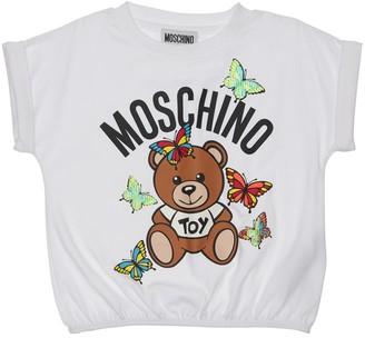 Moschino Cotton Jersey T-Shirt W/ Rubber Logo