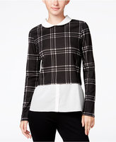 Maison Jules Layered-Look Plaid Top, Only at Macy's