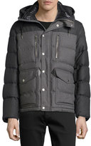Burberry Two-Tone Flannel Down Jacket, Mid Gray