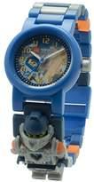 Lego Nexo Knights 8020516 Clay Kinder-Armbanduhr mit Minifigur und Gliederarmband zum Zusammenbauen   blau/orange   Kunststoff   analoge Quarzuhr   Junge/ Mädchen   offiziell