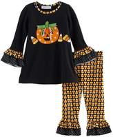 Bonnie Jean Baby Girl Halloween Pumpkin Top & Candy Corn Leggings Set
