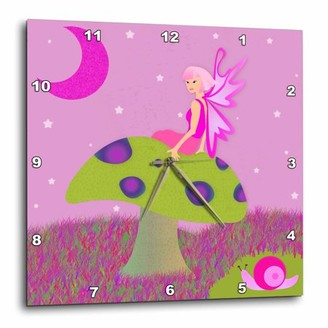On 3dRose Cute Fairy Princess Girl Toadstool with Snail Pink, Wall Clock, 13 by 13-inch