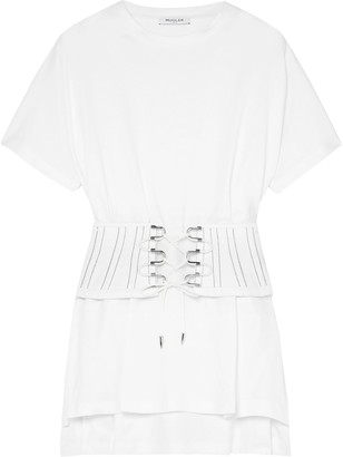 Thierry Mugler Belted Cotton-jersey T-shirt
