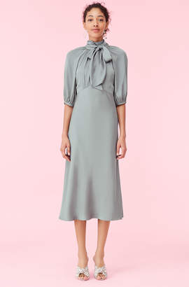 Rebecca Taylor Satin Tie Neck Dress